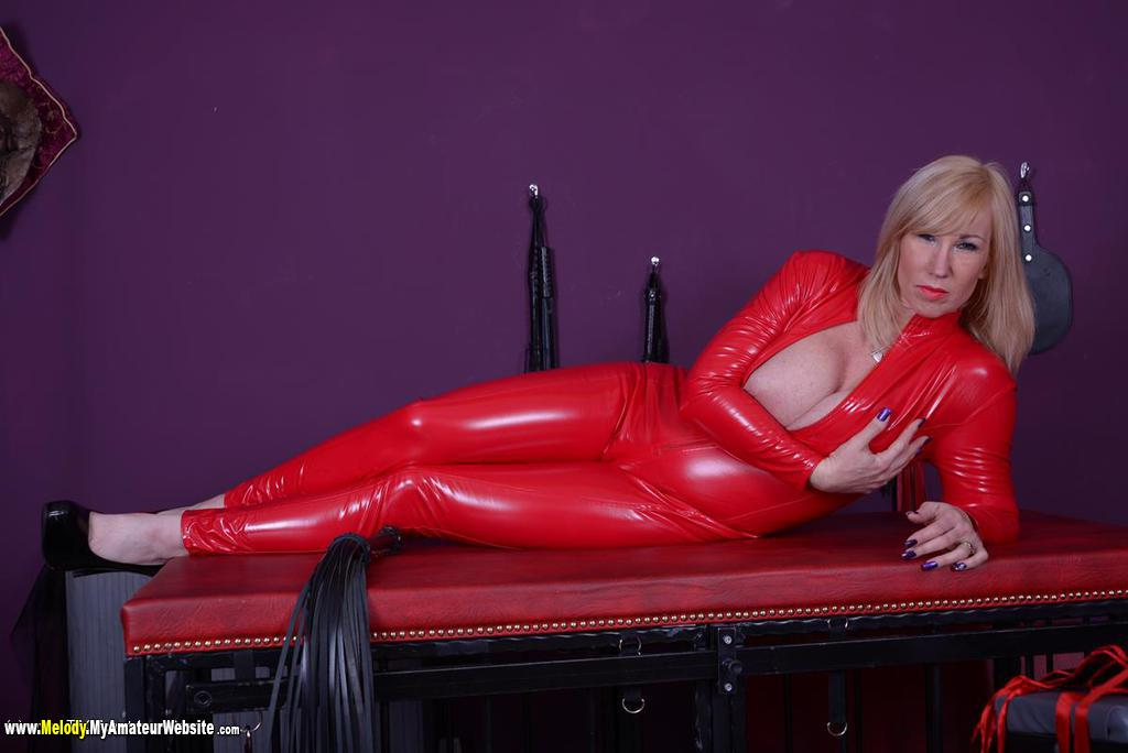 Melody - Red PVC Catsuit