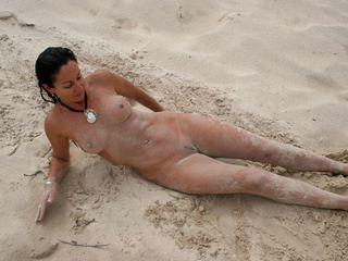 Naked in the sand n surf