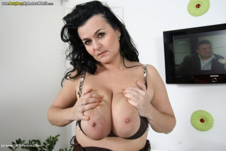 BustyReny - Big boobs on white tabletest Gallery