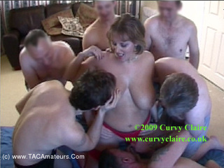 CurvyClaire - 7 Guy Gang Bang HD Video