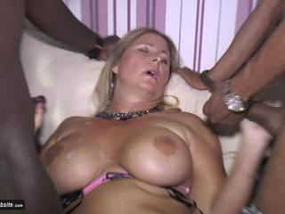 NudeChrissy - Blowing Two Black Cocks HD Video